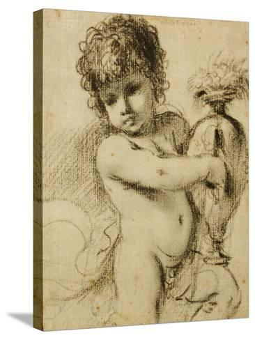 A Putto with a Vase-Guercino (Giovanni Francesco Barbieri)-Stretched Canvas Print