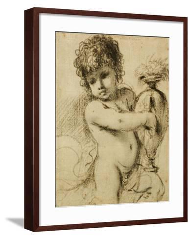 A Putto with a Vase-Guercino (Giovanni Francesco Barbieri)-Framed Art Print