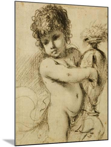 A Putto with a Vase-Guercino (Giovanni Francesco Barbieri)-Mounted Giclee Print
