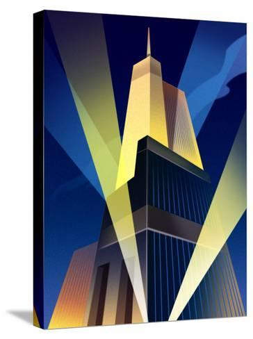 Skyscraper with Spotlights--Stretched Canvas Print