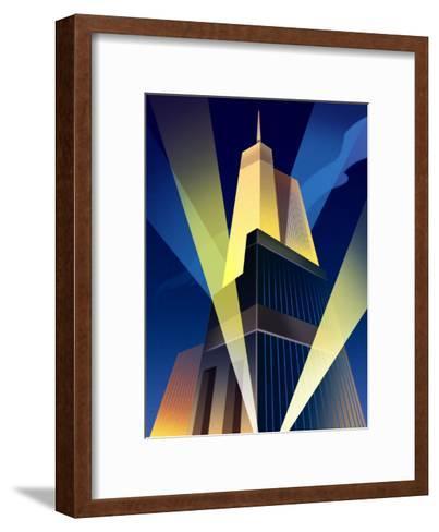 Skyscraper with Spotlights--Framed Art Print