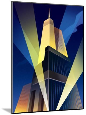Skyscraper with Spotlights--Mounted Art Print