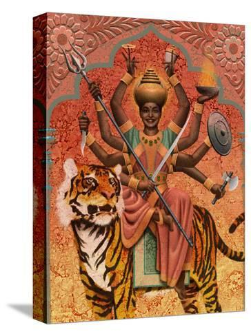 A View of Durga, the Indian Goddess of War, Sitting on a Tiger--Stretched Canvas Print