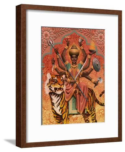 A View of Durga, the Indian Goddess of War, Sitting on a Tiger--Framed Art Print