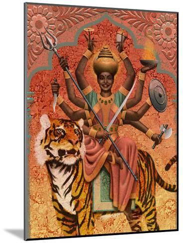 A View of Durga, the Indian Goddess of War, Sitting on a Tiger--Mounted Art Print