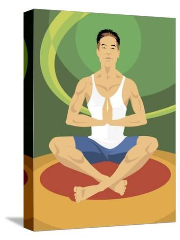 Man Doing Yoga--Stretched Canvas Print
