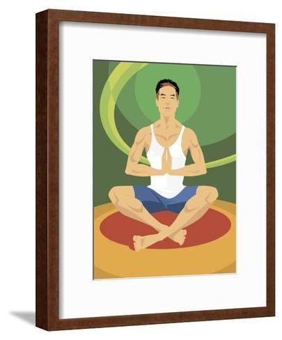 Man Doing Yoga--Framed Art Print