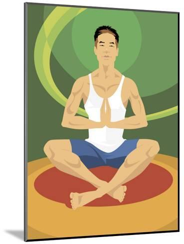 Man Doing Yoga--Mounted Art Print