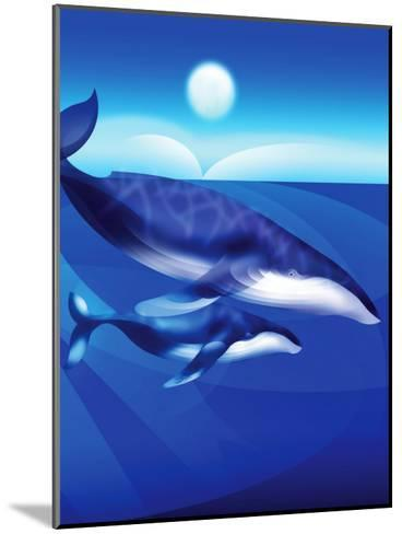Whales Swimming--Mounted Art Print