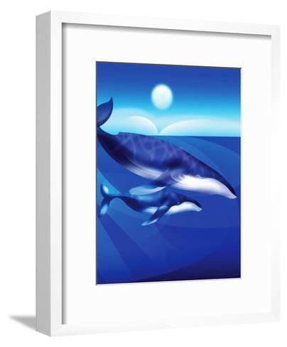 Whales Swimming--Framed Art Print