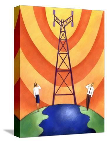 Business People on Phones by Cell Phone Communication Tower--Stretched Canvas Print