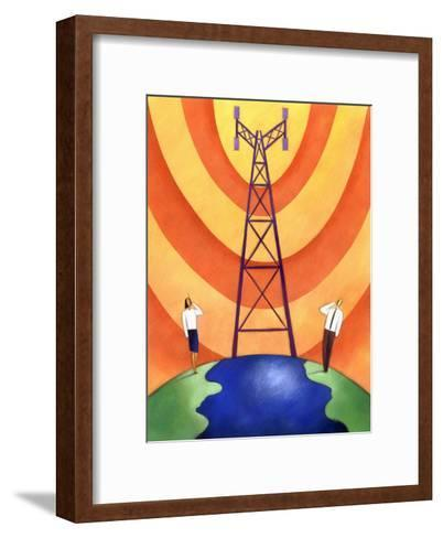 Business People on Phones by Cell Phone Communication Tower--Framed Art Print