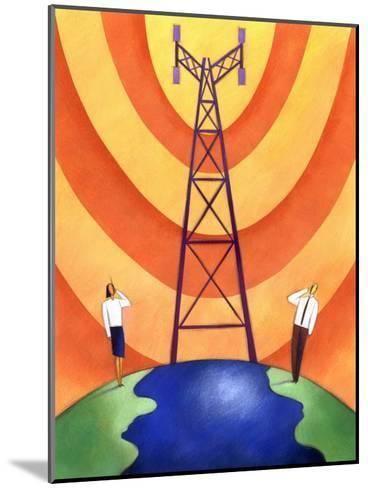 Business People on Phones by Cell Phone Communication Tower--Mounted Art Print