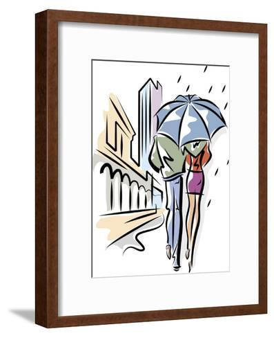 A Couple Walking with an Umbrella--Framed Art Print