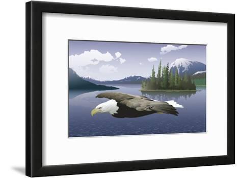 A Bald Eagle Flying Over a Lake--Framed Art Print