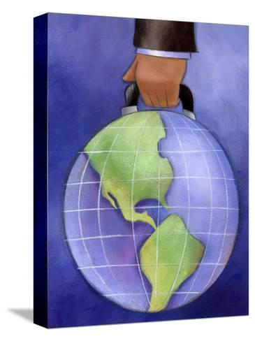 Businessman's Hand Carrying World Globe by Handle--Stretched Canvas Print