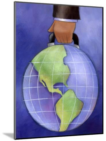 Businessman's Hand Carrying World Globe by Handle--Mounted Art Print