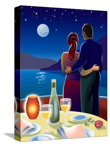 Couple at Romantic Dinner--Stretched Canvas Print