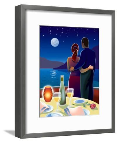Couple at Romantic Dinner--Framed Art Print