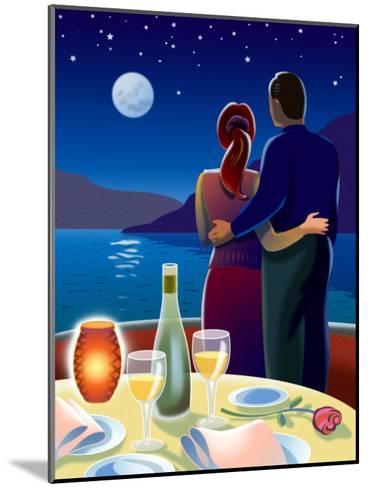 Couple at Romantic Dinner--Mounted Art Print