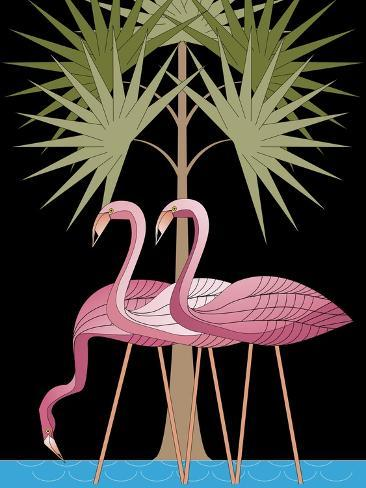 Three Pink Flamingos--Stretched Canvas Print
