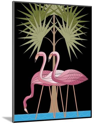 Three Pink Flamingos--Mounted Art Print