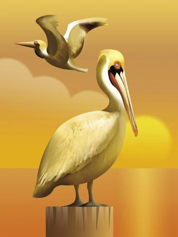 A View of Two Pelicans, One Standing on a Post and One Flying--Stretched Canvas Print