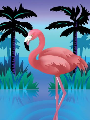 A Flamingo Standing in Water--Stretched Canvas Print