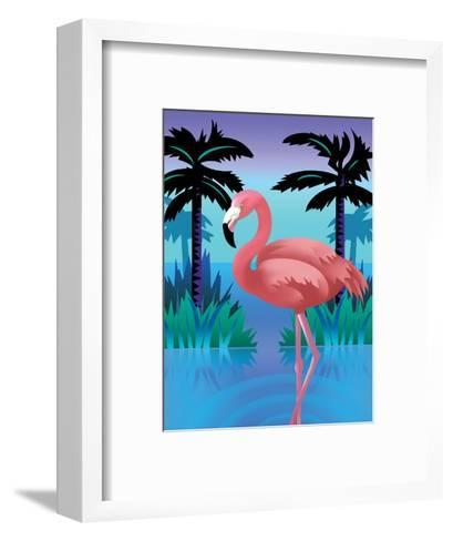 A Flamingo Standing in Water--Framed Art Print