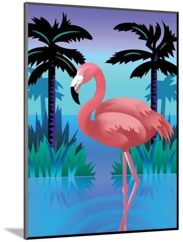 A Flamingo Standing in Water--Mounted Art Print