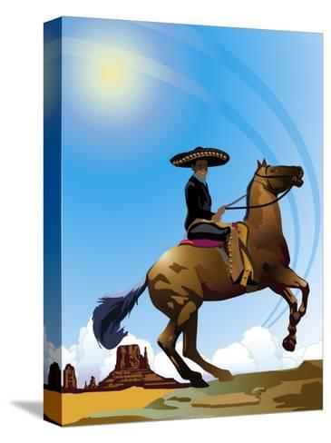 Mexican Caballero on Horseback, Grouped Elements--Stretched Canvas Print