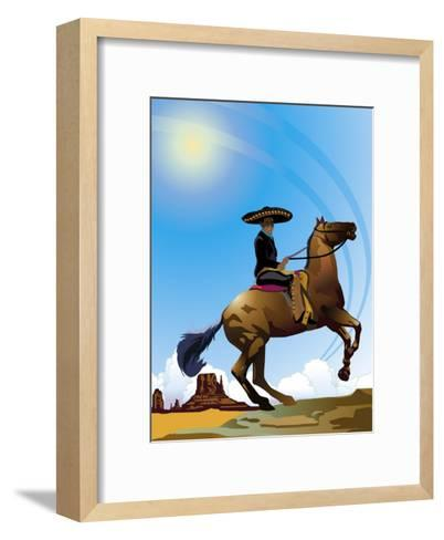 Mexican Caballero on Horseback, Grouped Elements--Framed Art Print