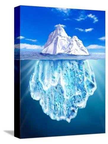 A View of an Iceberg from Above and Below Water--Stretched Canvas Print