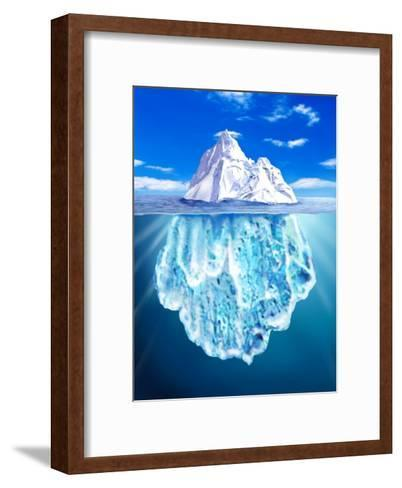 A View of an Iceberg from Above and Below Water--Framed Art Print