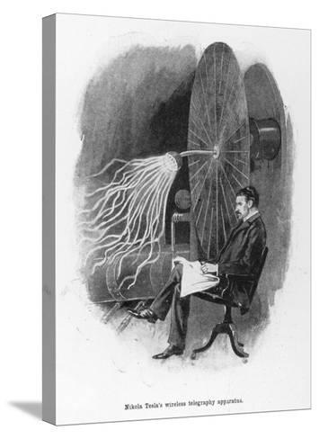 Nikola Tesla Serbian Inventor Seated Beside His Wireless Telegraphy Apparatus-Warwick Goble-Stretched Canvas Print