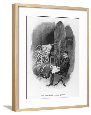 Nikola Tesla Serbian Inventor Seated Beside His Wireless Telegraphy Apparatus-Warwick Goble-Framed Art Print