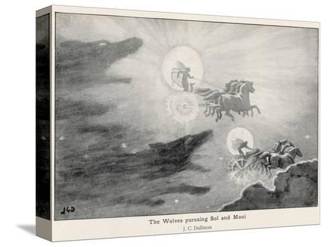 The Wolves Skoll (Repulsion) and Hati (Hate) Pursue Sol (Sun) and Mani (Moon) Across the Skies-J^c^ Dollman-Stretched Canvas Print
