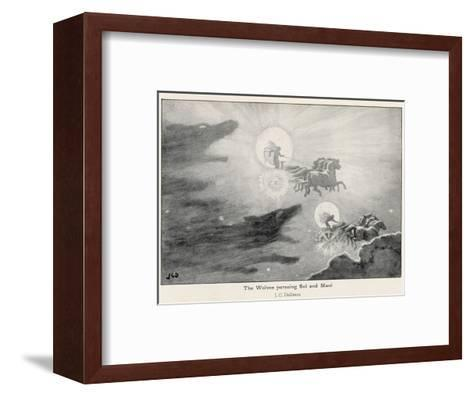 The Wolves Skoll (Repulsion) and Hati (Hate) Pursue Sol (Sun) and Mani (Moon) Across the Skies-J^c^ Dollman-Framed Art Print