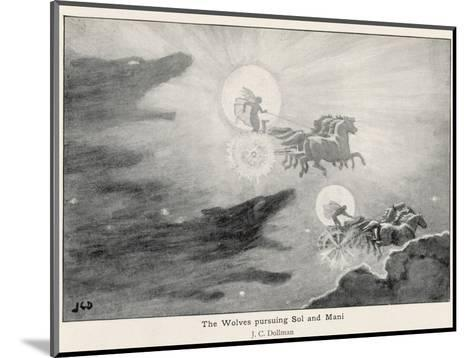 The Wolves Skoll (Repulsion) and Hati (Hate) Pursue Sol (Sun) and Mani (Moon) Across the Skies-J^c^ Dollman-Mounted Giclee Print