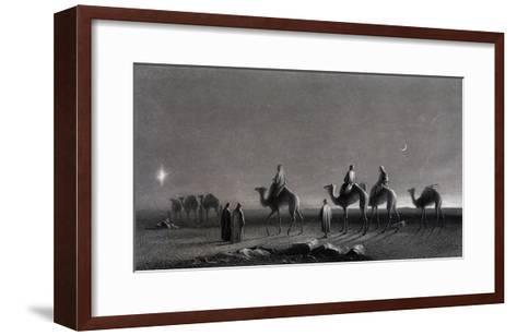 Jesus' Birth Magi Follow Star Across the Desert-R. Brandard-Framed Art Print