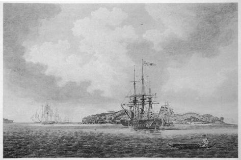 The First English Fleet Sails into Botany Bay-R. Clevely-Stretched Canvas Print
