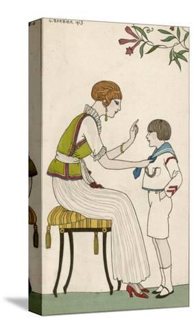 Woman: Narrow Pleated Skirt, Japonaise Silk Blouse, Short Sleevless Tunic and Sash-Georges Barbier-Stretched Canvas Print