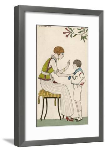 Woman: Narrow Pleated Skirt, Japonaise Silk Blouse, Short Sleevless Tunic and Sash-Georges Barbier-Framed Art Print