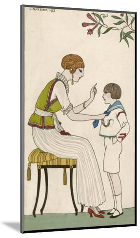 Woman: Narrow Pleated Skirt, Japonaise Silk Blouse, Short Sleevless Tunic and Sash-Georges Barbier-Mounted Giclee Print