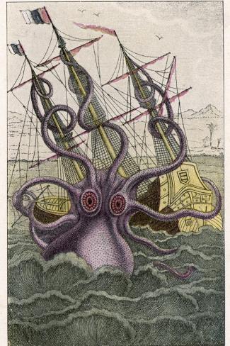 Kraken Attacks a Sailing Vessel-Denys De Montfort-Stretched Canvas Print