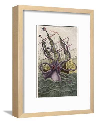 Kraken Attacks a Sailing Vessel-Denys De Montfort-Framed Art Print
