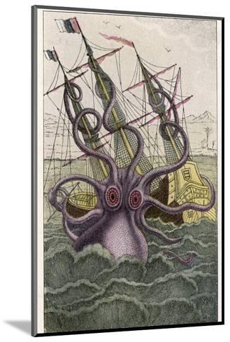 Kraken Attacks a Sailing Vessel-Denys De Montfort-Mounted Giclee Print
