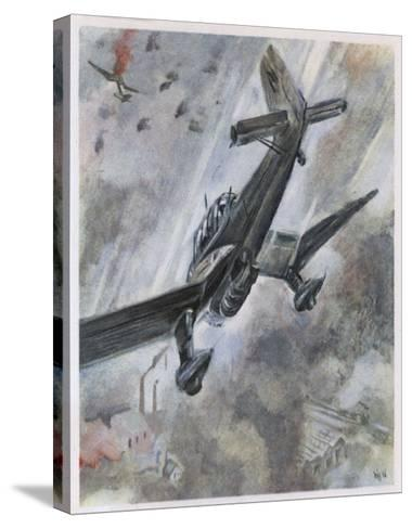 """""""Stuka"""" Dive-Bombers of the Luftwaffe in Action-A^w^ Diggelmann-Stretched Canvas Print"""