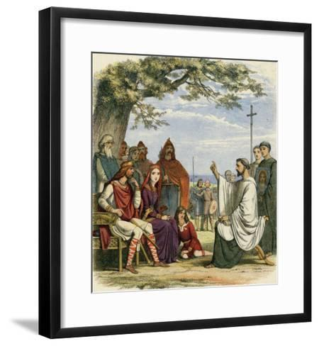 Augustine Preaching Christianity to Ethelbert 1 King of England-James Doyle-Framed Art Print
