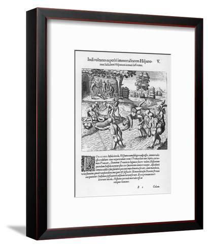 The Inhabitants of Puerto Rico Test the Belief That the Spaniards are Immortal by Drowning Salsedo-Theodor de Bry-Framed Art Print
